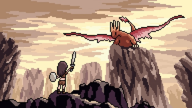 Pixel art scene dragon dragon
