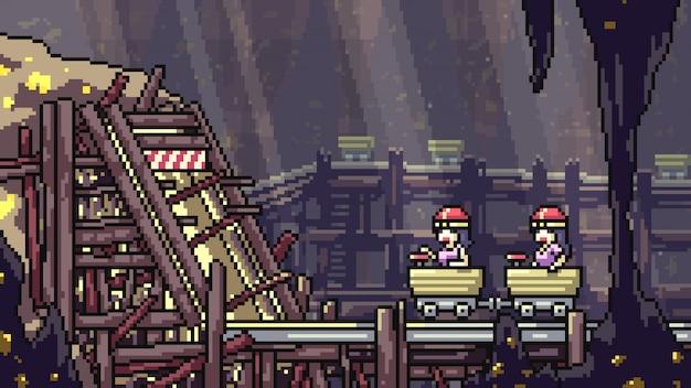 Pixel art scene kopalnia złota