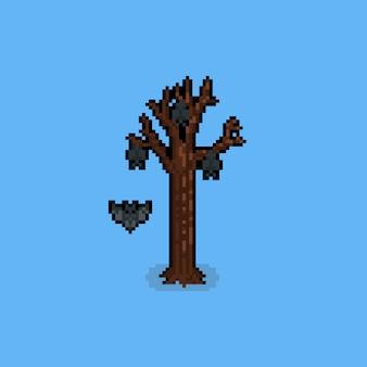 Pixel art stare drzewo z nietoperzem