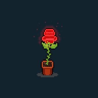 Pixel art świecąca czerwona róża ilustracja.