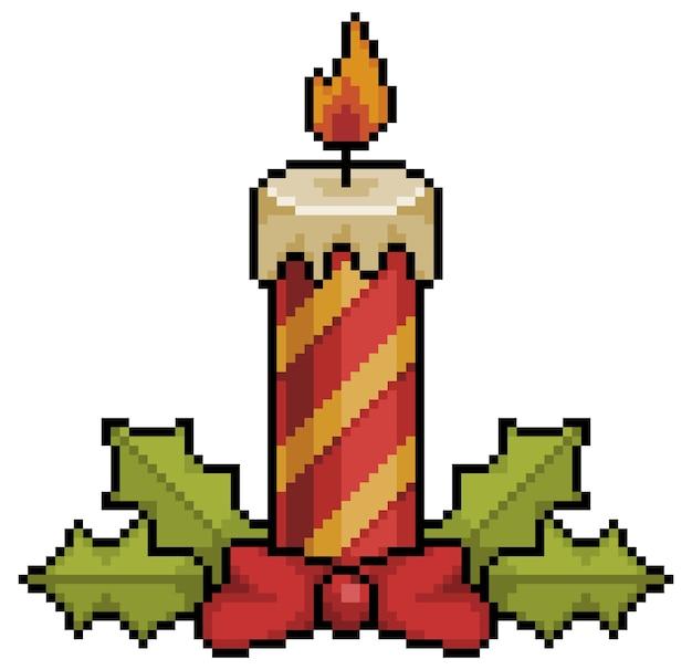 Pixel art świece świąteczne kawałek dekoracji świątecznych element gry