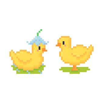 Pixel art uroczej laski w kwiatowym kapeluszu
