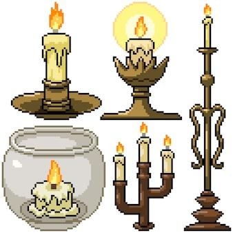 Pixel art zestaw dekoracji na białym tle świecy
