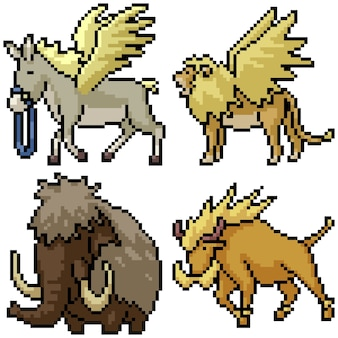 Pixel art zestaw izolowane zwierzę fantasy