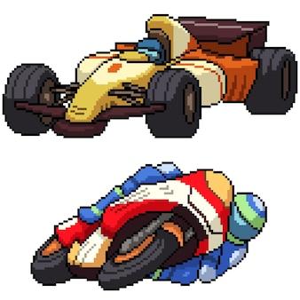 Pixel art zestaw izolowanego samochodu wyścigowego