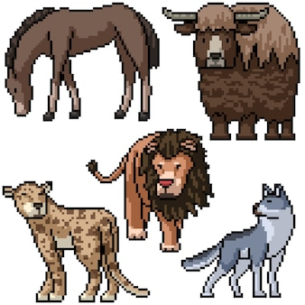 Pixel art zestaw izolowanych dzikich zwierząt