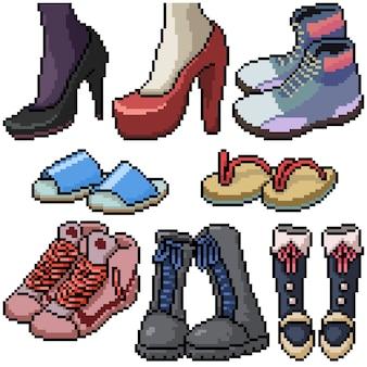 Pixel art zestaw moda obuwia na białym tle