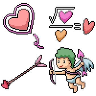 Pixel art zestaw na białym tle amorek miłości