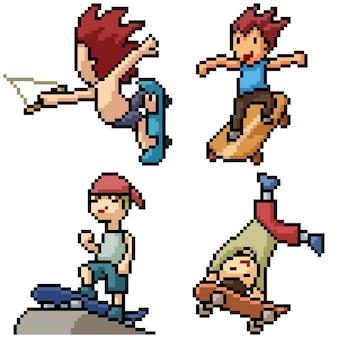 Pixel art zestaw na białym tle chłopiec deskorolka