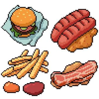 Pixel art zestaw na białym tle fast foodów