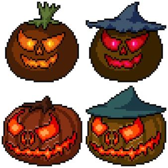 Pixel art zestaw na białym tle głowa dyni halloween