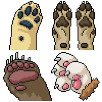 Pixel art zestaw na białym tle łapa zwierzęcia