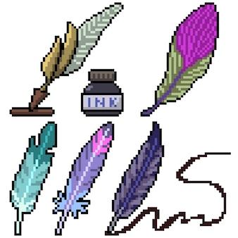 Pixel art zestaw na białym tle pióro pióro