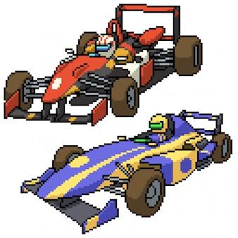 Pixel art zestaw na białym tle samochód wyścigowy