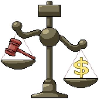 Pixel art zestaw system sprawiedliwości w skali na białym tle