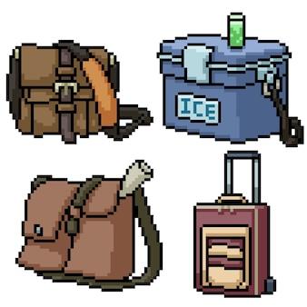 Pixel art zestaw torba podróżna na białym tle