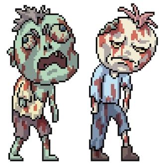 Pixel art zombie spacerującego halloween