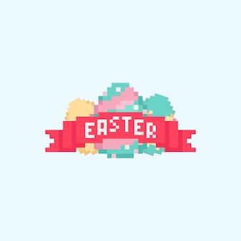 Pixel easter egg z czerwoną wstążką