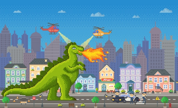 Pixel game dragon character with flames vector