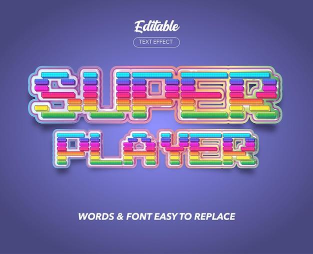 Pixel game title style vector efekt tekstowy