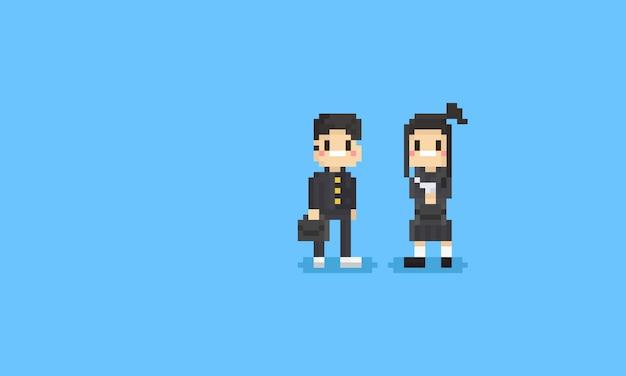 Pixel japoński student