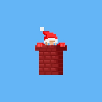 Pixel santa w komin. boże narodzenie.8bit.