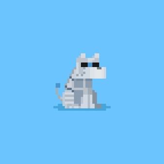 Pixel siedzi robot dog.8bitowy charakter.