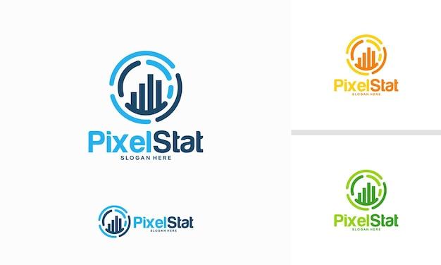 Pixel stats logo projektuje wektor koncepcyjny, szablon logo technologii wykresu