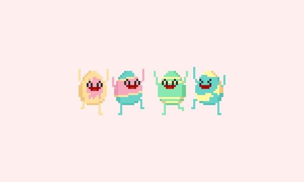 Pixel szczęśliwy easter egg character.8bit.