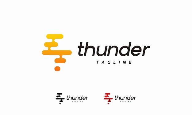 Pixel thunder flash logo projektuje wektor koncepcyjny, symbol logo tech lightning