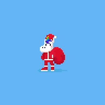 Pixel unicorn nosi strój świętego mikołaja z czerwoną torbą