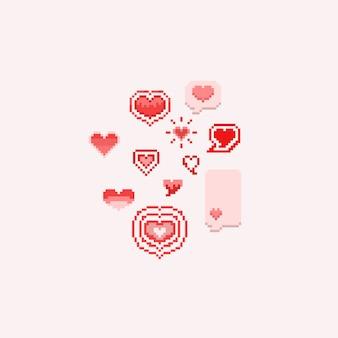 Pixel valentine cartoon hearts.8bit.