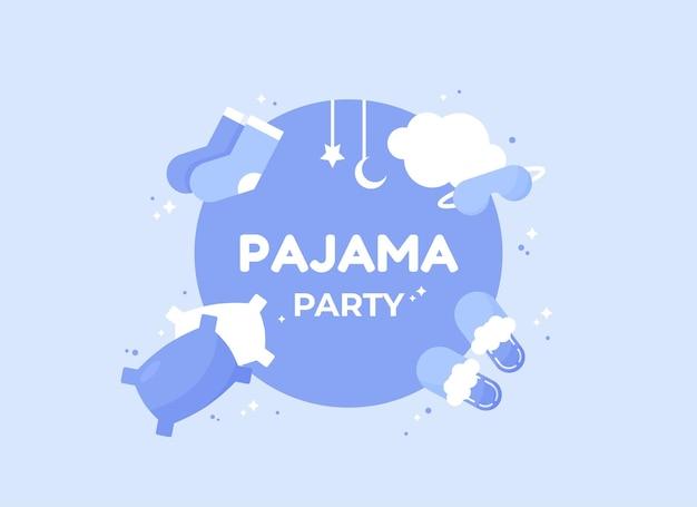 Piżama party plakat lub baner w płaskiej konstrukcji