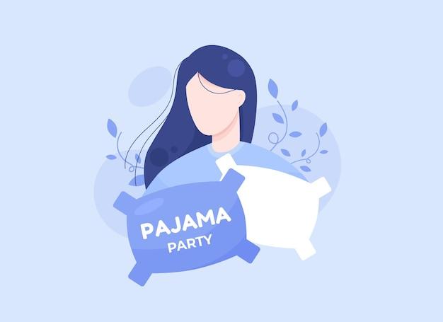 Piżama party plakat lub baner z dziewczyną i poduszkami na zaproszenie na noc w płaskiej konstrukcji