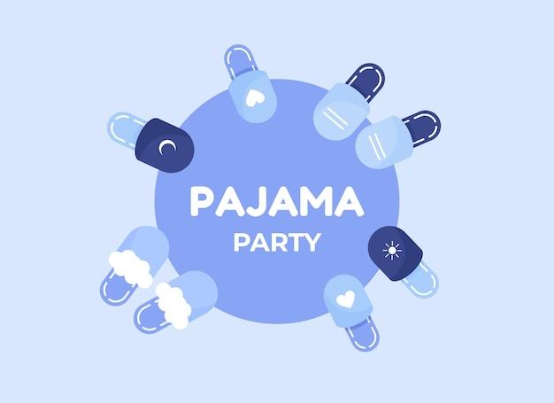 Piżamowy plakat lub baner z kapciami w płaskiej konstrukcji