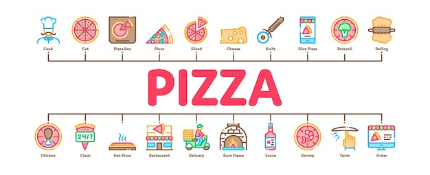 Pizza delicious food minimal infographic banner