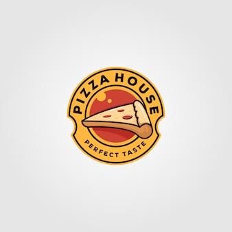 Pizza domowego rocznika loga karmowy ilustracyjny projekt