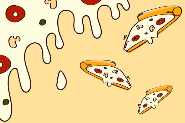 Pizza doodle tło wzorzyste
