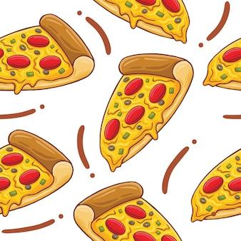 Pizza fast food seamless pattern w stylu płaskiej konstrukcji