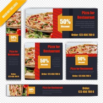 Pizza food web banner set for restaurant