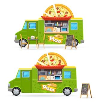 Pizza jedzenie ciężarówka na białym tle samochód