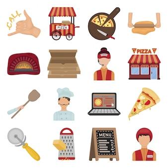 Pizza jedzenie kreskówka zestaw ikon
