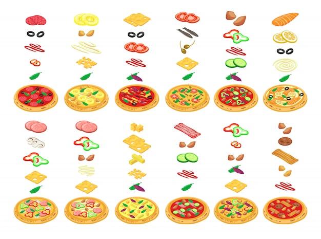 Pizza konstruktor z rodzajami karmowymi w isometric ilustraci. zrobić w pizzerii na białym tle