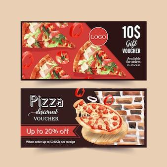 Pizza kupon projekt z bekonem, warzywem, pizza plasterka wody ilustracją