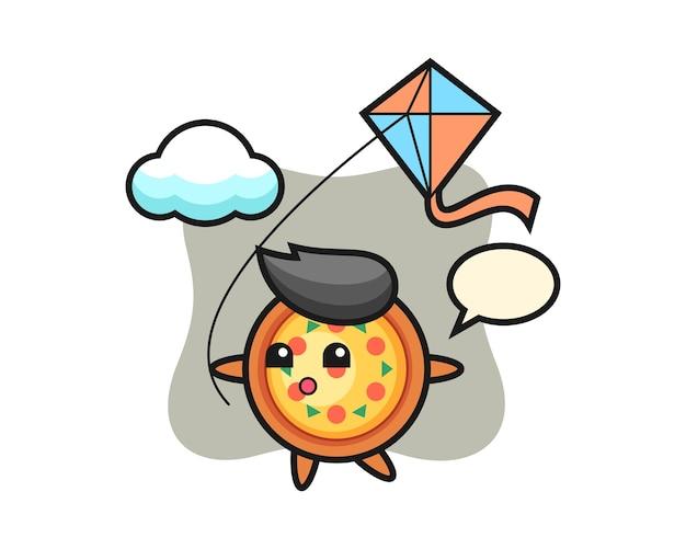 Pizza maskotka bawi się latawcem