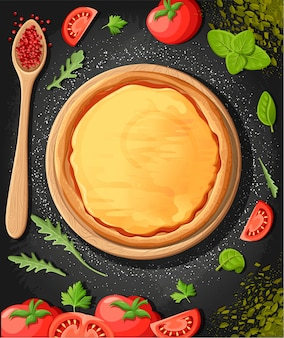 Pizza menu tablica kreskówka tło z ilustracji świeżych składników pizzeria ulotka w tle. dwa poziome bannery z tekstem składników na podłoże drewniane i tablica.