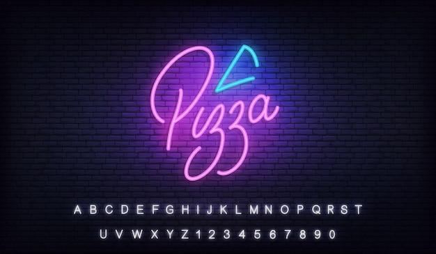 Pizza neonowa. szablon neon napis