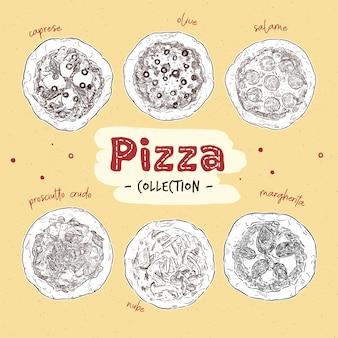 Pizza odgórny widok ustawiający z różnymi składnikami ilustracyjnymi