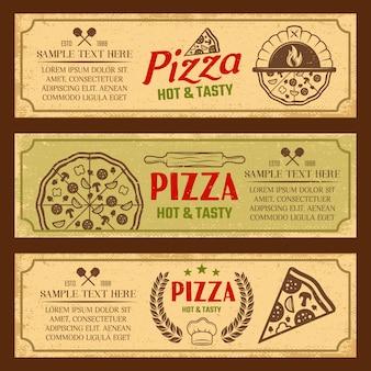 Pizza poziome banery styl vintage zestaw