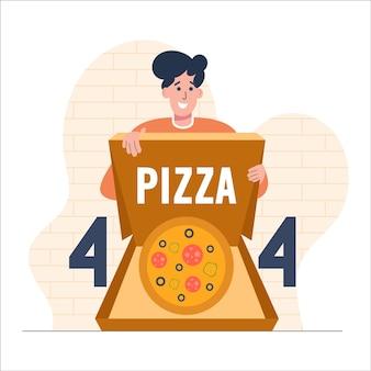 Pizza pusty stan błąd 404 płaska ilustracja